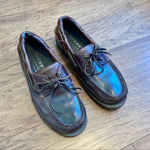 Chocolate brown leather Sperry boat shoes